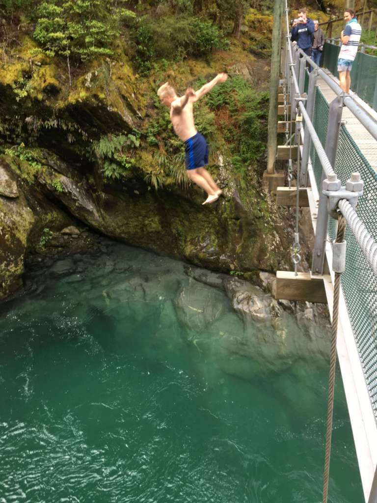 Jumping to Blue Pools - New Zealand
