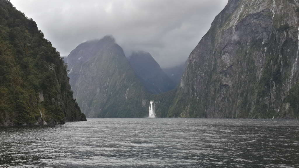 Milford Sound, New Zealand. The bus + boat tour from Te Anau was 100$ or 70€. Maybe it was the weather but the tour wasn't as mind blowing as I expected.