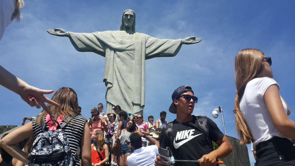 Crowd in Christ the Redeemer, Rio de Janeiro. It was impossible to get a good picture about the statue.